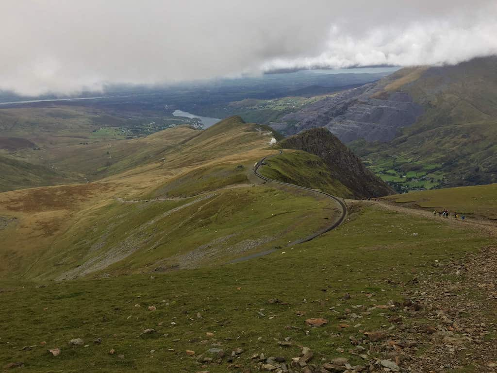 View from Snowdon to Llanberis
